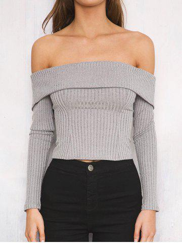 New Off The Shoulder Ribbed Short Sweater