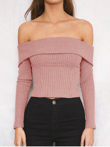 Fashion Off The Shoulder Ribbed Short Sweater
