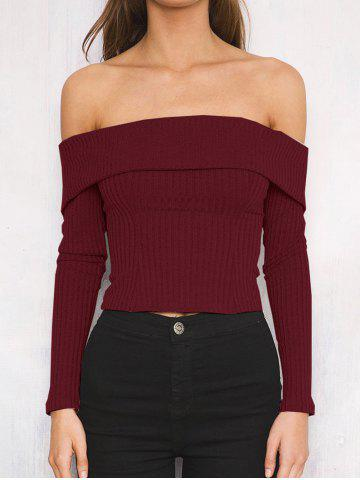 Unique Off The Shoulder Ribbed Short Sweater
