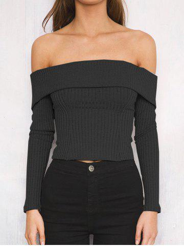 Cheap Off The Shoulder Ribbed Short Sweater