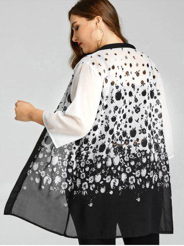 Chic Plus Size Monochrome Apples Sheer Kimono