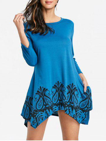 Discount Floral Printed Handkerchief Dress with Pockets