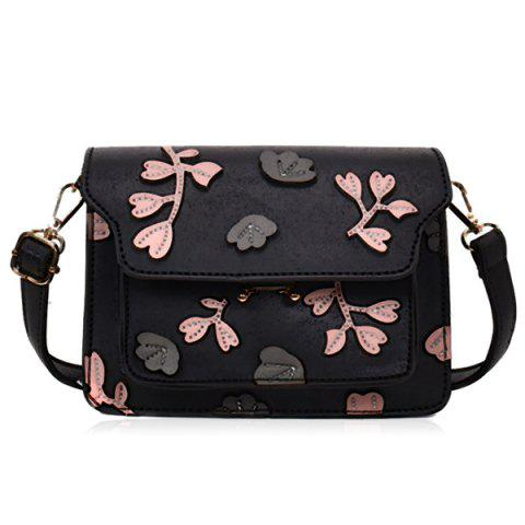 Shop PU Leather Floral Shoulder Bag