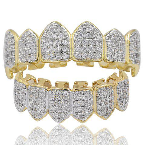 Хип-хоп Rhinestone Top и Bottom Teeth Grillz Set