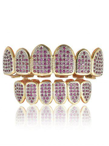 Chic Rhinestoned Geometric Top and Bottom Teeth Grillz Set