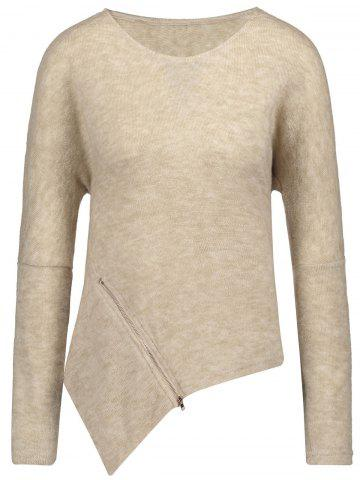 Discount Front Zipper Embellished Asymmetrical Sweater