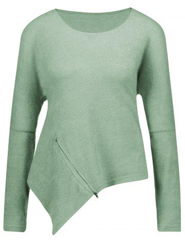New Front Zipper Embellished Asymmetrical Sweater