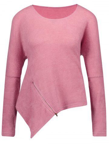 Affordable Front Zipper Embellished Asymmetrical Sweater