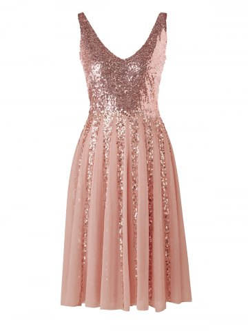 Shop Sleeveless Sequined Chiffon Dress