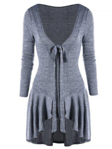 Shops High Low Bow Tie Neck Heathered Cardigan