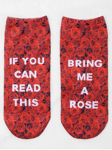 Pair Of Letter Rose Print Graphic Ankle Socks