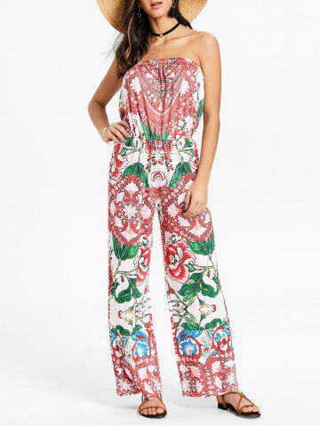 Chic Floral Strapless Tube Jumpsuit