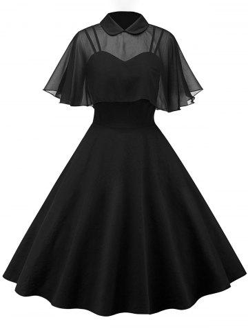 Latest Vintage Skater Pin Up Dress With Mesh Cape