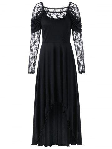 Lace Panel Maxi High Low Dress