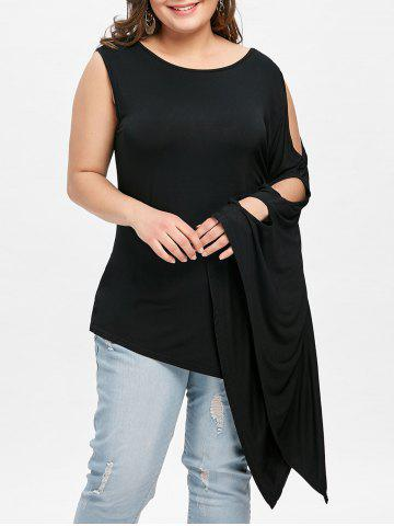 Shop Plus Size Batwing Sleeve One Shoulder Tee
