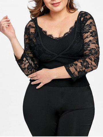 Outfits Plus Size Lace Crop Top