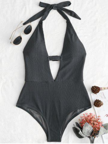 Shop Plunge Front Halter Backless Swimsuit