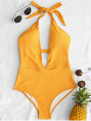 Store Plunge Front Halter Backless Swimsuit