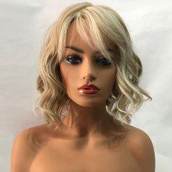 Short Inclined Bang Wavy Colormix Capless Synthetic Wig -