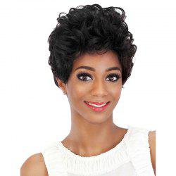 Short inclined Bang Fluffy Curly Human Hair Wig -