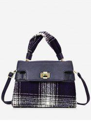 Contrasting Color Plaid Handbag -