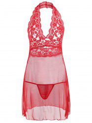 Halter Lace Mesh Backless Babydoll -