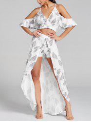 Leaves Print Cropped Top and Maxi Skirted Shorts -