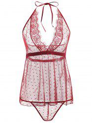 See Through Lace Low Back Babydoll -