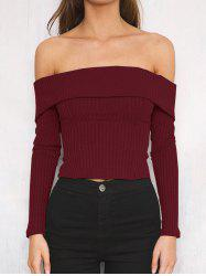 Off The Shoulder Ribbed Short Sweater -