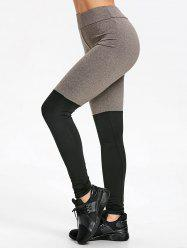 Slim Two Tone Yoga Stirrup Leggings -