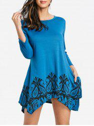 Floral Printed Handkerchief Dress with Pockets -