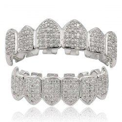 Hip Hop Rhinestone Top and Bottom Teeth Grillz Set -