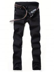 Classical Zipper Fly Straight Leg Denim Pants -