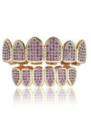 Rhinestoned Geometric Top and Bottom Teeth Grillz Set -