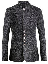 Mandarin Collar Wool Blend Single Breasted Blazer -