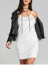 Spaghetti Strap Fringed Mini Club Dress -