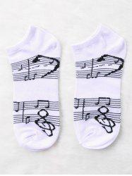Pair Of Music Notes Print Graphic Ankle Socks -