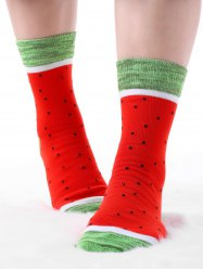 Pair Of Contrast Watermelon Crew Socks -
