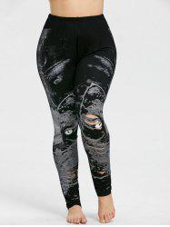 Plus Size Cat Graphic Shredding Leggings -