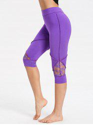 Lace Insert Capri High Waisted Leggings -