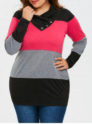 Plus Size Long Sleeve Heaps Collar T-shirt -