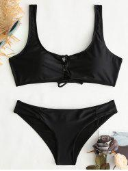 Criss Cross Crop Bkini Top and Hipster -