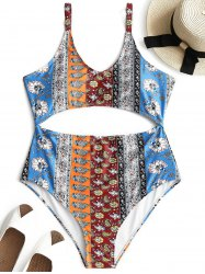 Printed Cutout Plus Size Swimsuit -