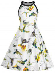 Bird Print Sleeveless Plus Size Dress -