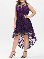 Plus Size Lace Overlay Party Dress -