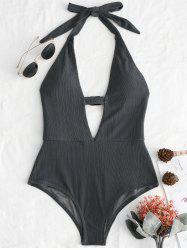 Plunge Front Halter Backless Swimsuit -