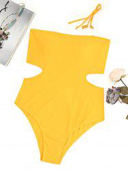 High Leg Cut Out Bandeau Plus Size Swimsuit -