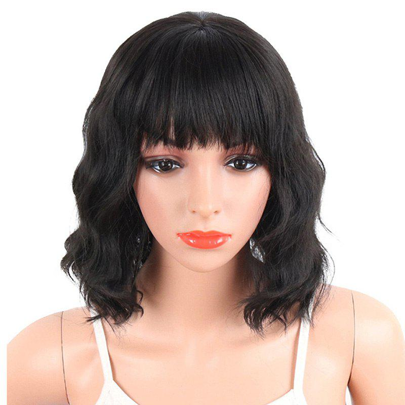 Chic Medium Neat Bang Natural Wavy Human Hair Wig