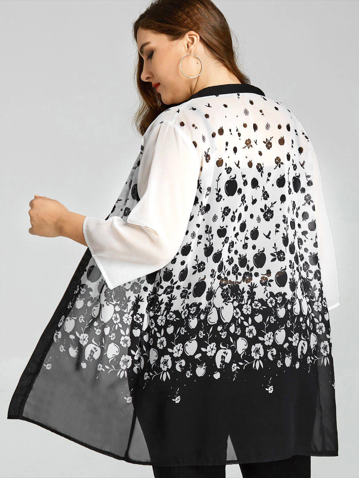 Latest Plus Size Monochrome Apples Sheer Kimono