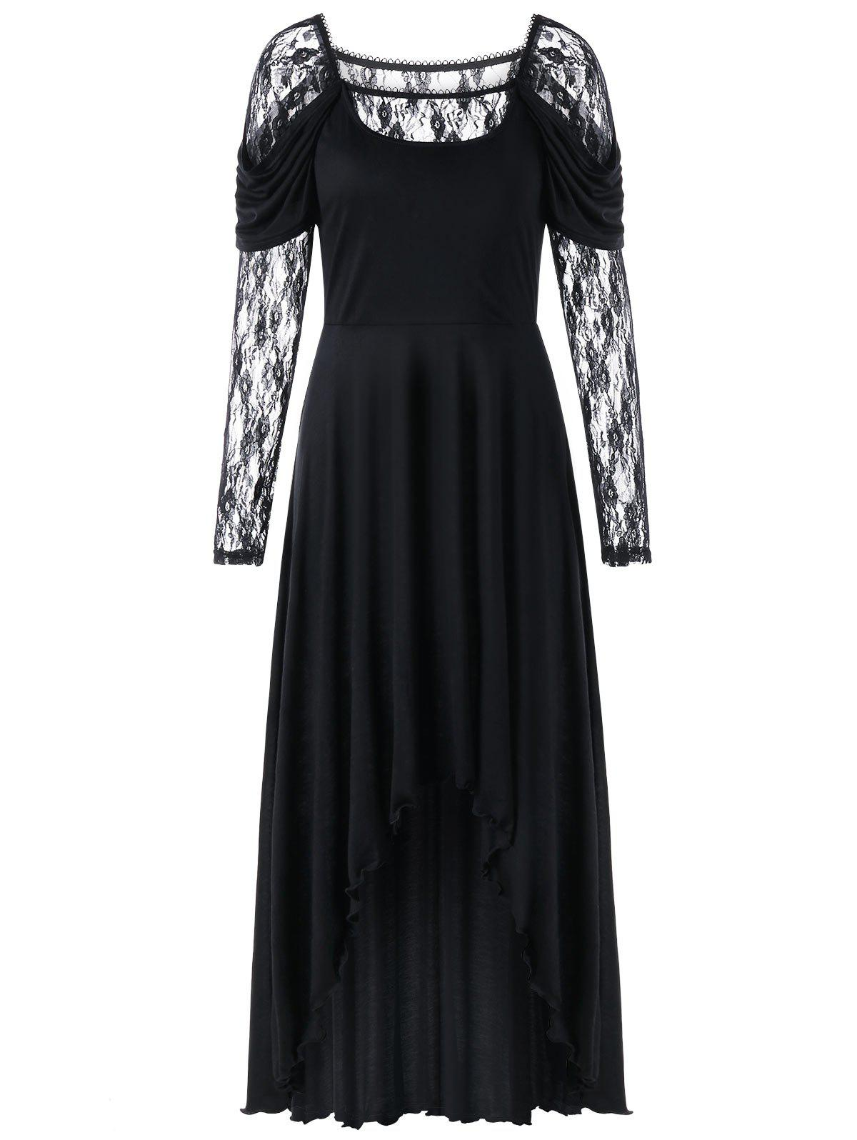 New Lace Panel Maxi High Low Dress